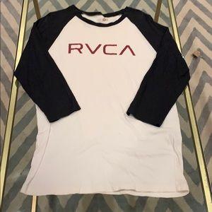 White RVCA baseball T w/3/4 Navy sleeves